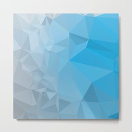 Capri Blue Abstract Low Polygon Background Metal Print