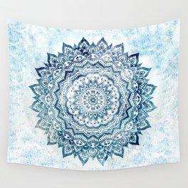 BLUE JEWEL MANDALA Wall Tapestry