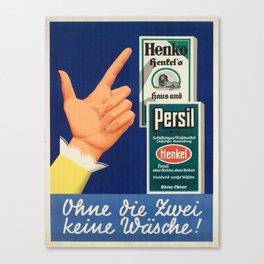vintage placard henko hentels persil ohne die zwei Canvas Print