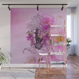 Funny easter bunny with flowers Wall Mural
