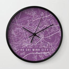 Ho Chi Minh City Map, Vietnam - Purple Wall Clock