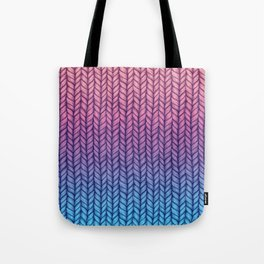 Chunky Knit Pattern in Pink, Blue & Purple Tote Bag