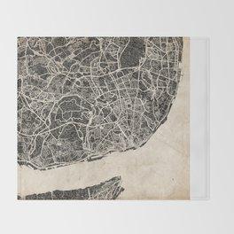 lisbon map ink lines Throw Blanket
