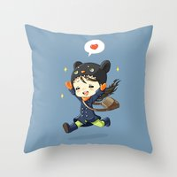 happiness Throw Pillows featuring Happiness by Freeminds
