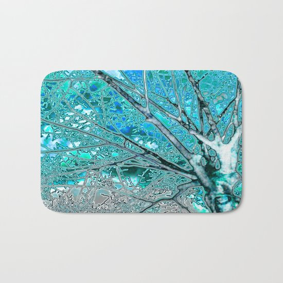 Digital Tree Cyan Bath Mat