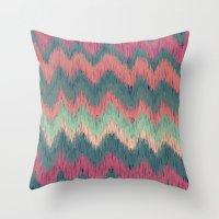 ikat Throw Pillows featuring IKAT CHEVRON by Nika