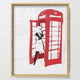 London Calling Fashion Phone Booth Girl Serving Tray