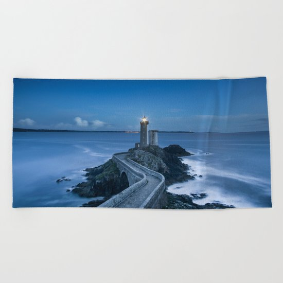 Lighthouse blue Beach Towel