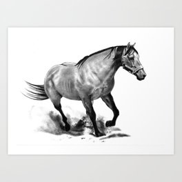 Horse Running, Pencil Drawing, Equine Art Art Print