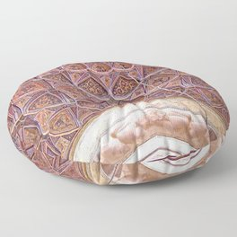 Persian Ornamental Tile Mosaic Dome Ceiling, Iran 2 Floor Pillow