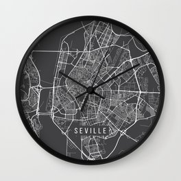 Seville Map, Spain - Gray Wall Clock