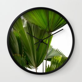 Palm Tree Photography | Landscape | Palm Leaf | Tropical Leaves | Green Tropical Leaves Wall Clock
