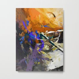 Glass Bowl Purple Splatter Metal Print
