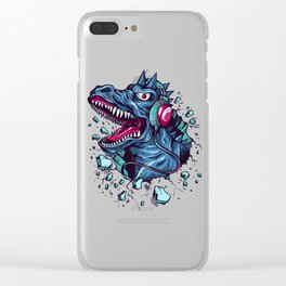 Dino with Headphones BLUE Orient Clear iPhone Case