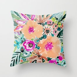 SMELLS LIKE WONDER VIBES Floral Throw Pillow