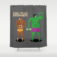 workout Shower Curtains featuring Sweet Workout by Hoborobo