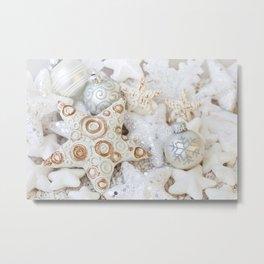 White Christmas decorative ornaments Metal Print