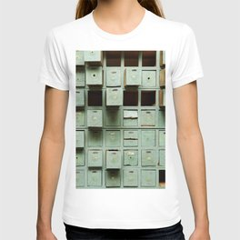 Old green wooden cabinet with drawers T-shirt