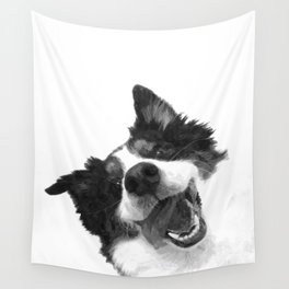 Black and White Happy Dog Wall Tapestry