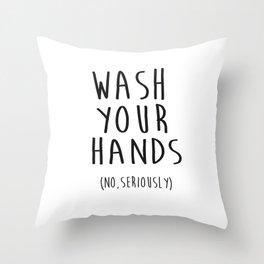 Wash Your Hands Bathroom Print Bathroom Decor Nursery Print Nursery Quote So Fresh And So Clean Throw Pillow