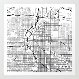 Denver Map, USA - Black and White Art Print