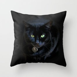 When A Black Cat Hearts Your Path Throw Pillow
