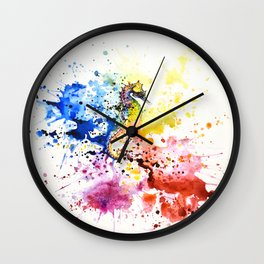 Underwater rainbow : the seahorse Wall Clock