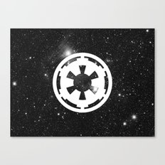 White Imperial Cog on Stars, Galactic Empire, Dark Side Canvas Print