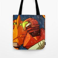 metroid Tote Bags featuring Samus (Metroid) by Peerro