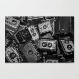A Mess Of Old Cameras 2 BW Canvas Print