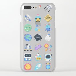 CUTE OUTER SPACE / SCIENCE / GALAXY PATTERN Clear iPhone Case