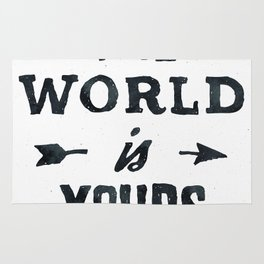 THE WORLD IS YOURS Black and White Rug
