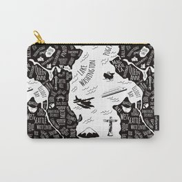 Seattle Illustrated Map in Black and White - Repeat Carry-All Pouch
