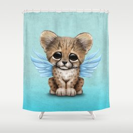 Cute Baby Cheetah Cub with Fairy Wings on Blue Shower Curtain
