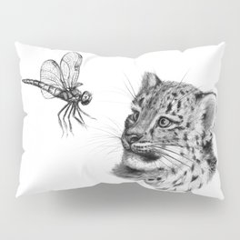 Snow leopard cub and dragonfy G148 Pillow Sham