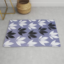 White and black leaves in purple background Rug