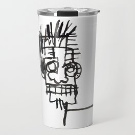 A vectorised and reworked Basquiat notebook sketch Travel Mug