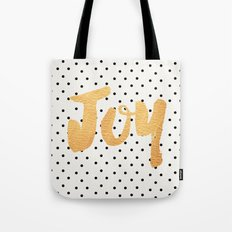 Joy - Polka dots and gold Tote Bag