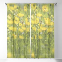 Buttercups in motion Sheer Curtain