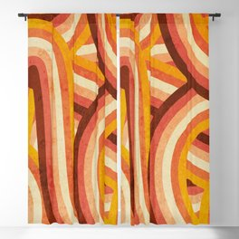 Vintage Orange 70's Style Rainbow Stripes Blackout Curtain