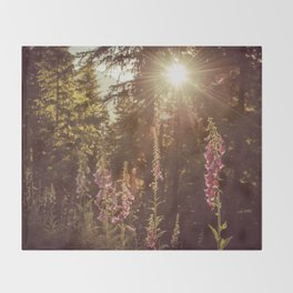 A New Day Wildflowers at Dawn - Nature Photography Throw Blanket