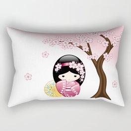 Japanese Spring Kokeshi Doll Rectangular Pillow