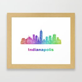 Rainbow Indianapolis skyline Framed Art Print