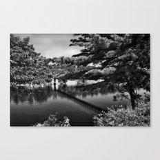 Androscoggin Swing Bridge (black and white) Canvas Print