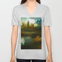 Landscape of Skyrim Unisex V-Neck