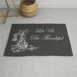 Let Us Be Thankful Corn Stalks and Pumpkin Chalkboard Rug