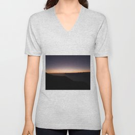 monte baldo garda lake italy drone shot aerial view sunset mountains dust path clouds Unisex V-Neck