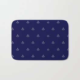Maritime pattern- little white boats on darkblue background Bath Mat