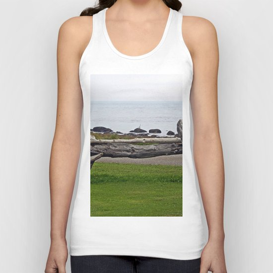 Driftwood Fence and the Sea Unisex Tank Top