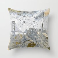 san francisco map Throw Pillows featuring San Francisco skyline old map by Paula Belle Flores
